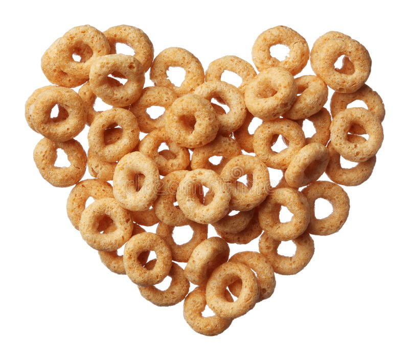 Cheerios cereal in a heart shape isolated on white. Background stock photography