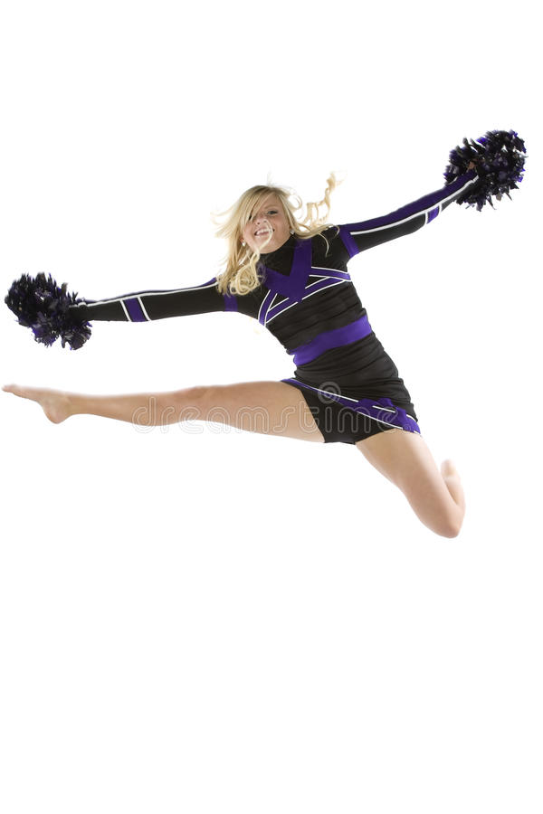 Download Cheerleader In The Air One Leg Out Stock Image - Image: 14143441