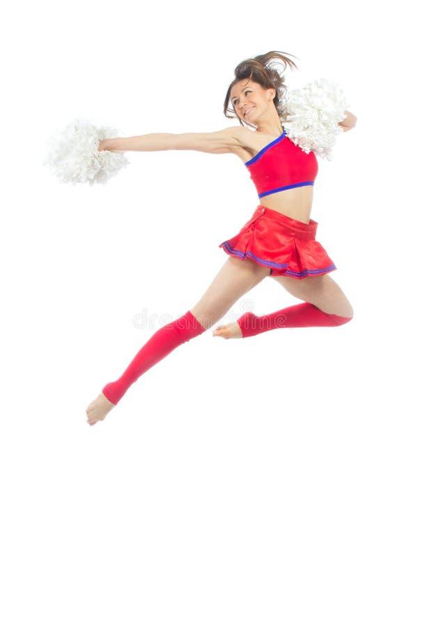 Cheerleader dancer from cheerleading team jumping stock photos