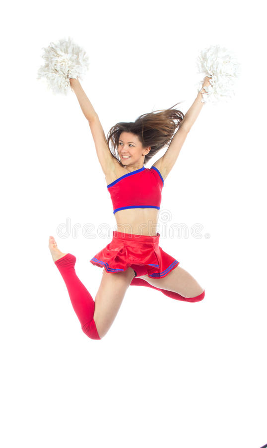Cheerleader dancer from cheerleading team jumping royalty free stock photos