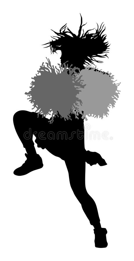 Cheerleader dancer figure silhouette. Cheer leading girl sport support. royalty free illustration