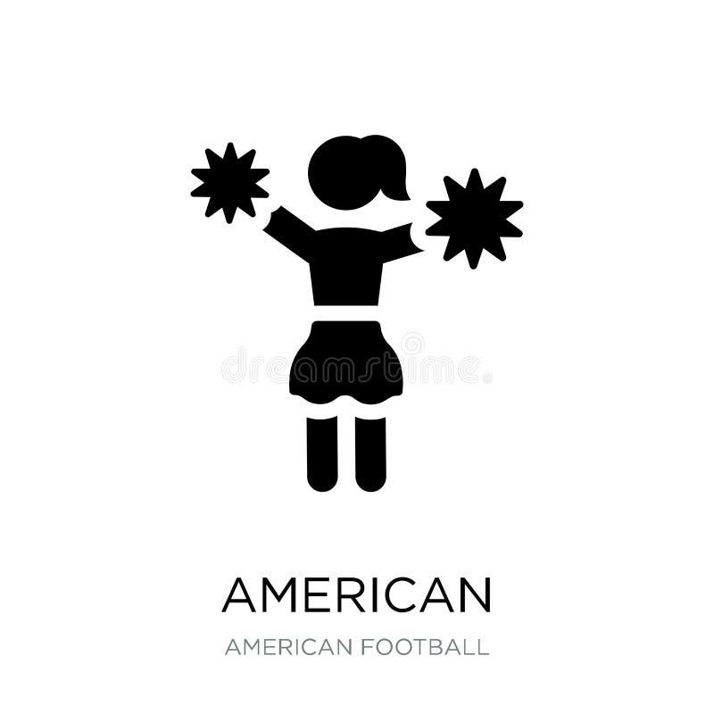 Cheerleader des amerikanischen Fußballs springen Ikone in der modischen Entwurfsart Cheerleader des amerikanischen Fußballs sprin stock abbildung
