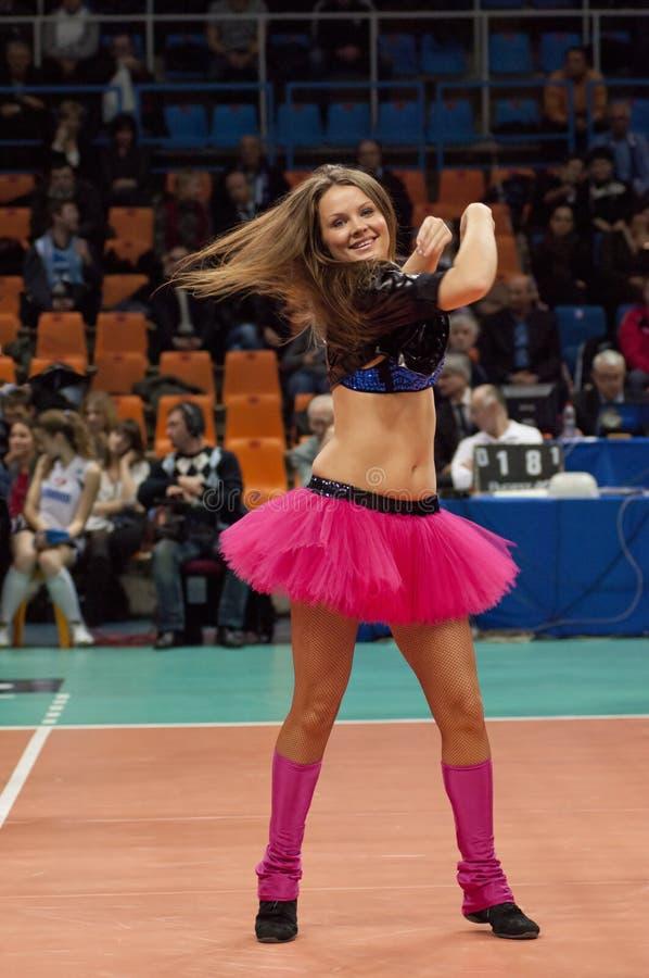 Cheerleader of Dinamo team stock images