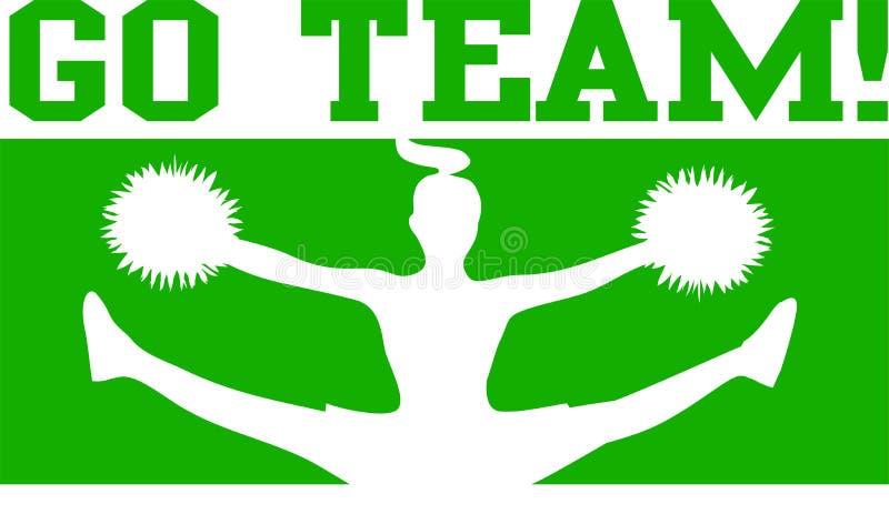 Cheerleader gehen Team-Grün/ENV lizenzfreie abbildung