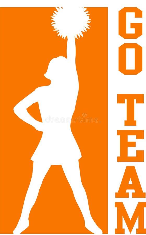 Cheerleader gehen Team-Orange/ENV stock abbildung