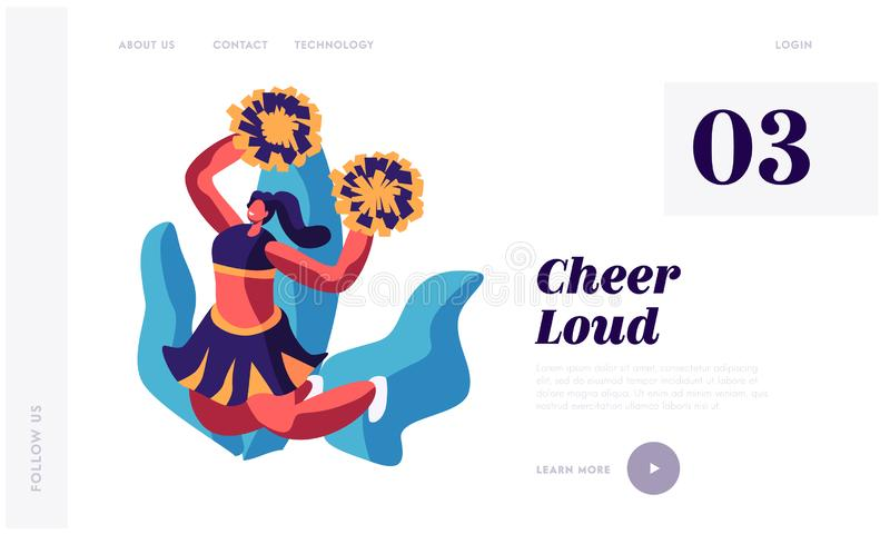 Cheerleader Girl Dancing with Pompons on Sport Event Competition Supporting Sportsmen. Characters Performing Dance on Stadium. Website Landing Page, Web Page stock illustration