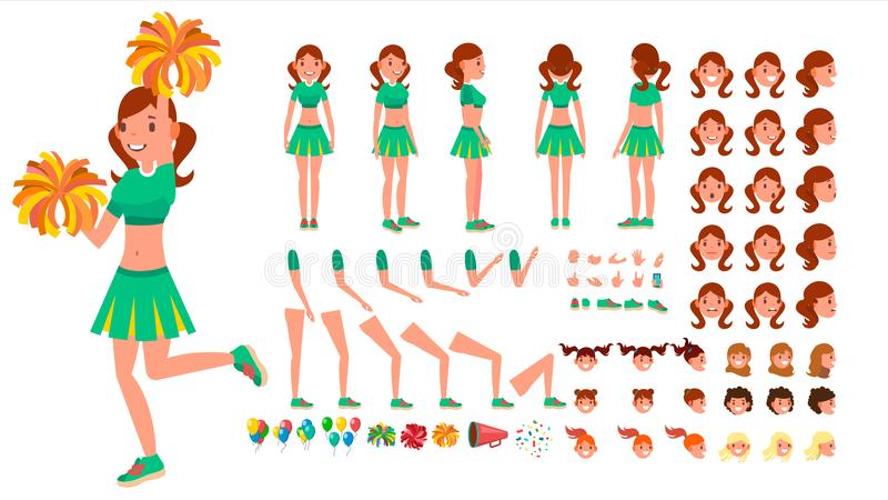 Cheerleader Girl Vector. Animated Character Creation Set. Sport Fan Dancing Cheerleading Woman. Full Length, Front, Side stock illustration