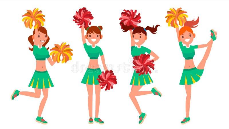 Cheerleader Girls Vector In der Aktion Sportfreund-Uniform Fußball-Stützfrau Zeichentrickfilm-Figur-Illustration vektor abbildung