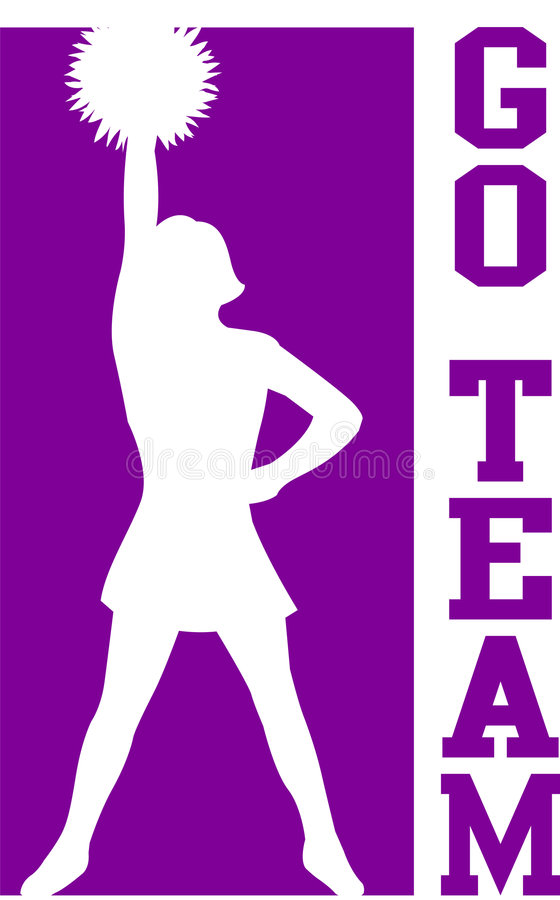 Free Cheerleader Go Team Purple/EPS Royalty Free Stock Images - 6283409