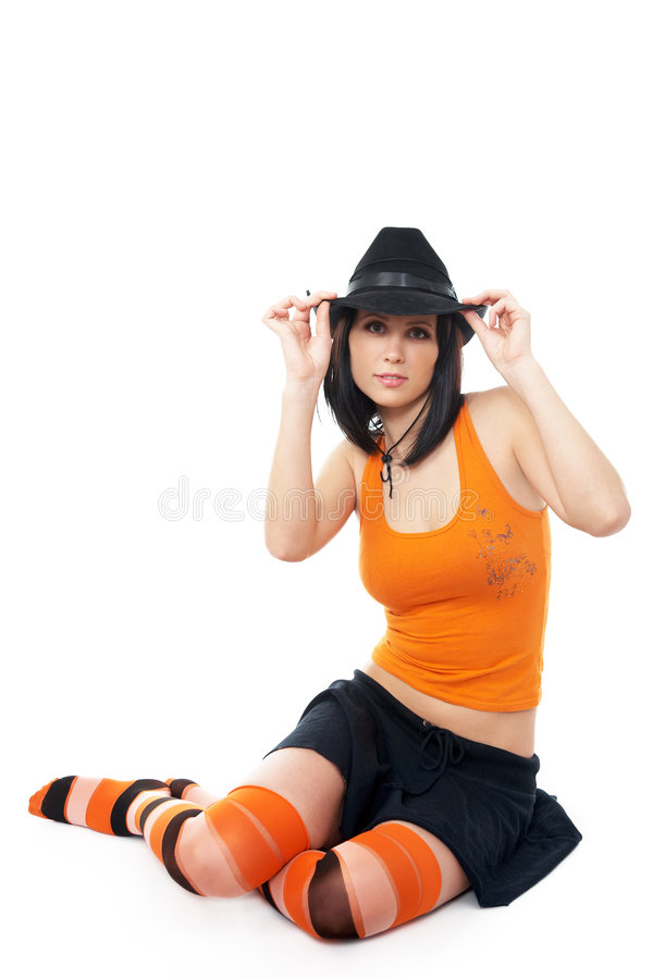 Cheerleader isolated on white stock photography