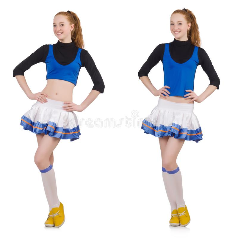 Cheerleader isolated on the white background royalty free stock photos