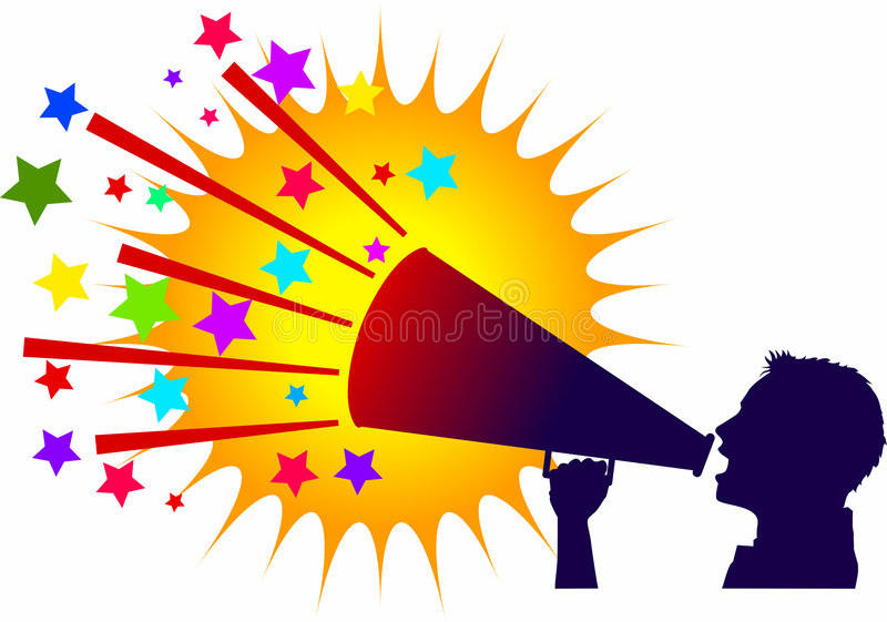 Cheerleader_male. Raster silhouette graphic depicting a cheerleader with a megaphone with colorful background royalty free illustration