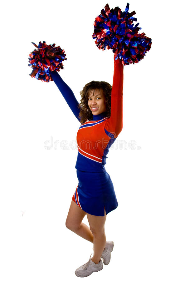 Cheerleader mit pom poms stockbild
