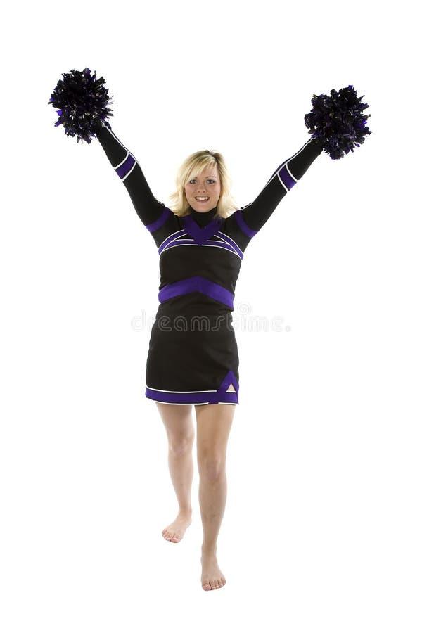 Cheerleader mit pom poms oben stockbilder