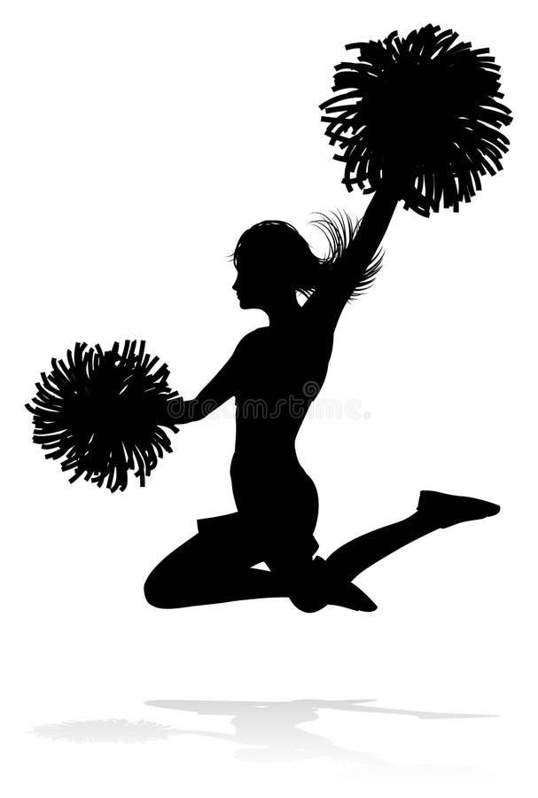 Cheerleader mit Pom Poms Silhouette lizenzfreie abbildung
