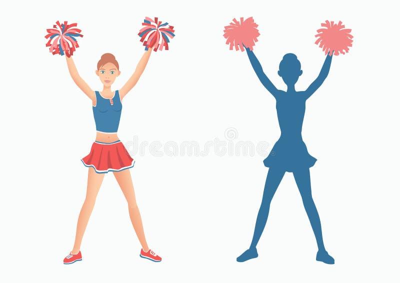 Cheerleader mit Pom-poms und ihr Schattenbild auf weißem Hintergrund stock abbildung