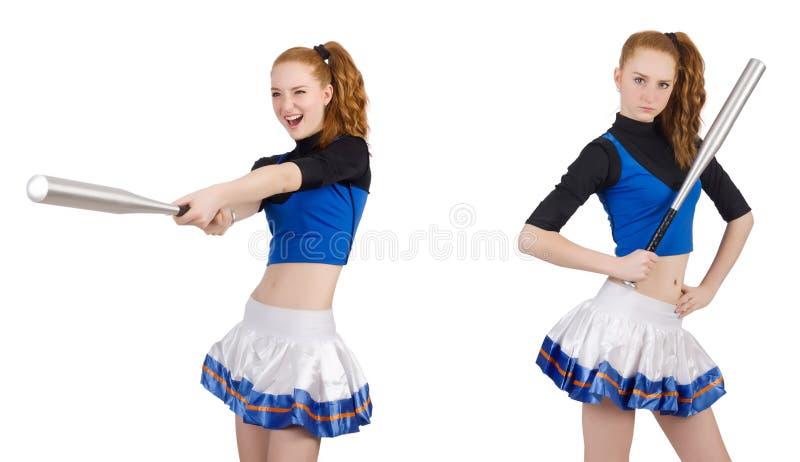 Cheerleader op de witte achtergrond wordt geïsoleerd die royalty-vrije stock foto's