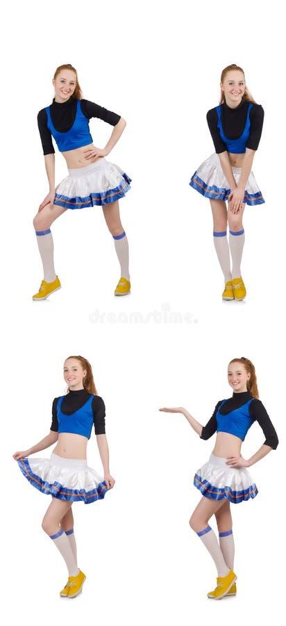 Cheerleader op de witte achtergrond wordt ge?soleerd die royalty-vrije stock afbeeldingen