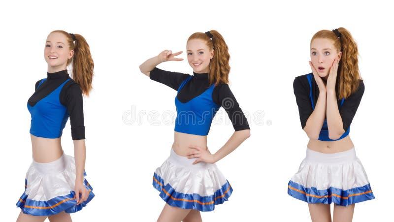 Cheerleader op de witte achtergrond wordt ge?soleerd die stock foto