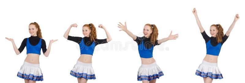 Cheerleader op de witte achtergrond wordt ge?soleerd die stock afbeelding