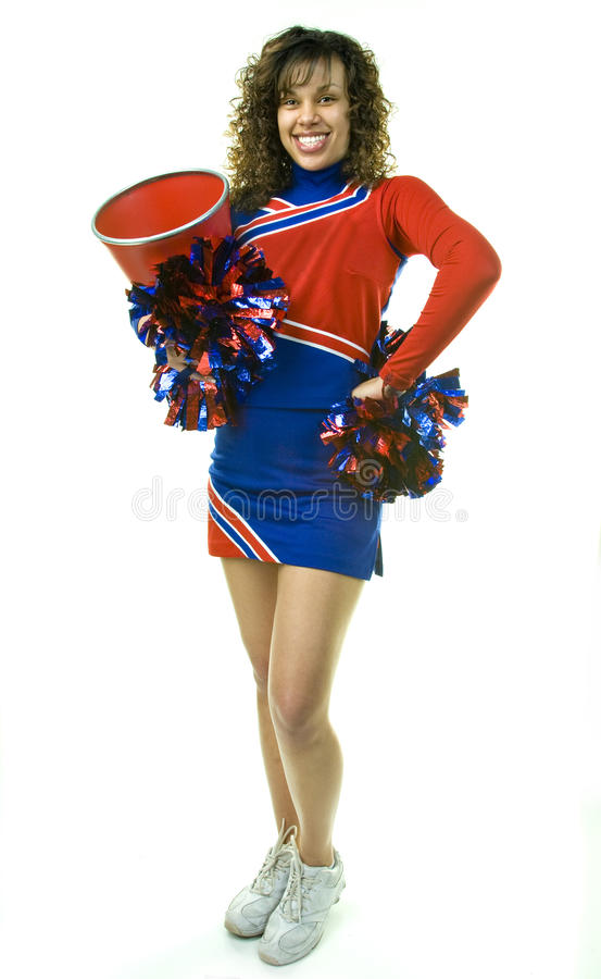 Download Cheerleader With Pom Poms And Megaphone Stock Photo - Image: 10186944