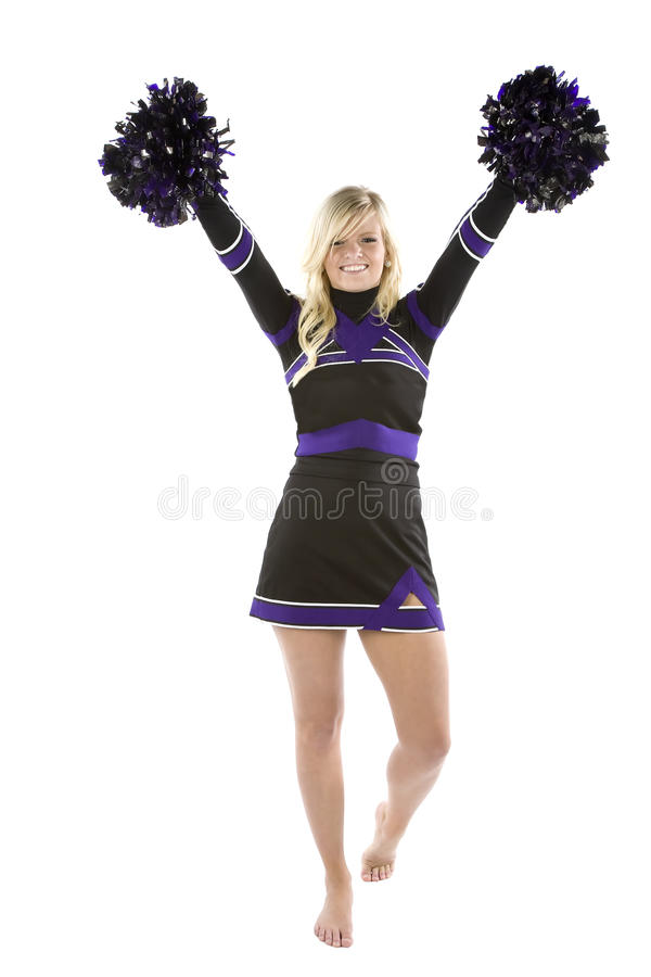 Download Cheerleader pom poms up stock image. Image of healthy - 14143463