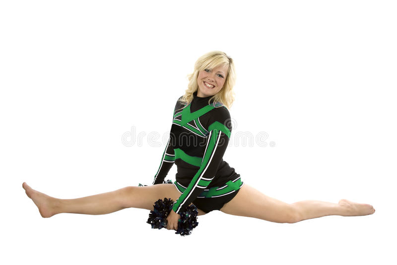 cheerleader splits poms down stock photo