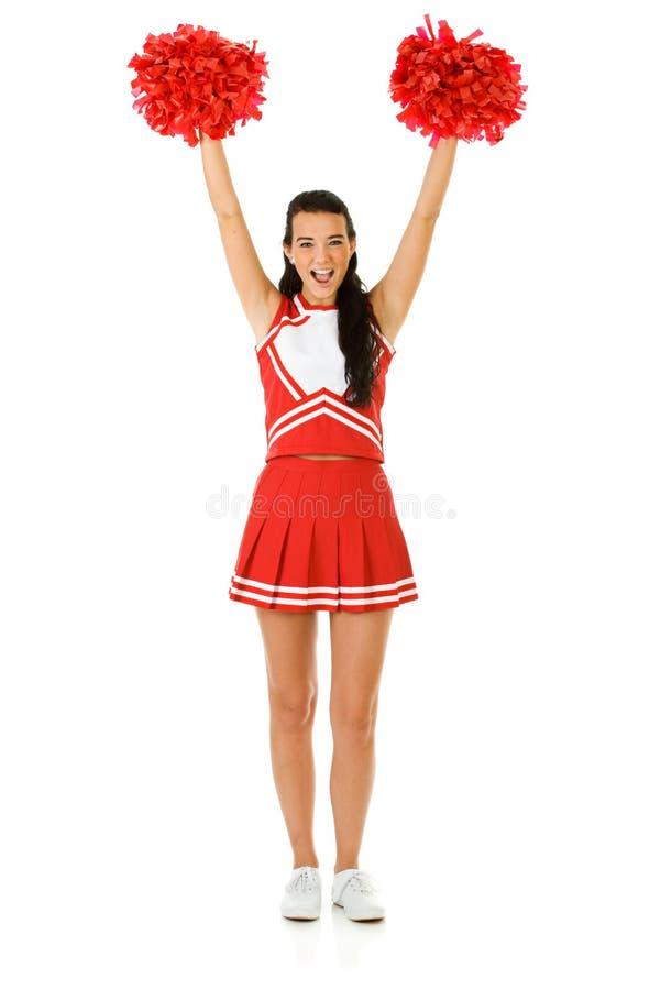 Cheerleader: Zujubeln mit Pom Poms stockfotos