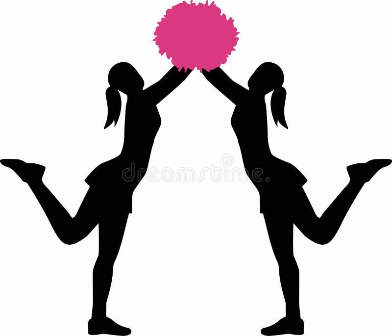 Cheerleader zwei mit pom pom stock abbildung