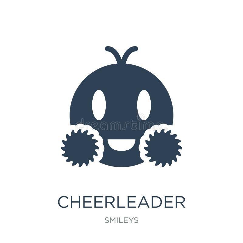 Cheerleaderikone in der modischen Entwurfsart Cheerleaderikone lokalisiert auf weißem Hintergrund Cheerleadervektorikone einfach  stock abbildung