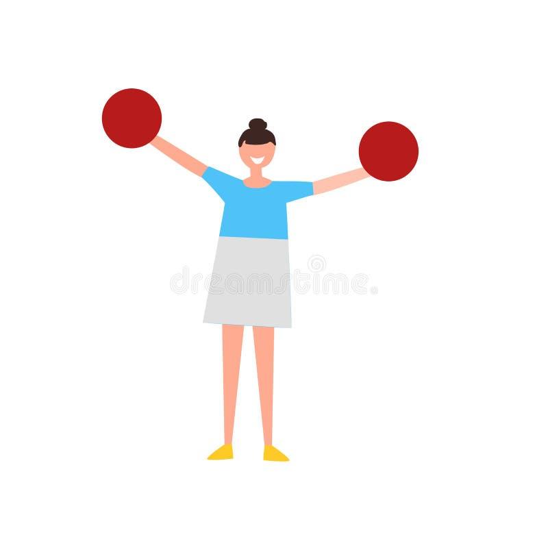 Cheerleaderikonenvektor lokalisiert auf weißem Hintergrund, Cheerleaderzeichen, menschliche Illustrationen, menschliche Illustrat lizenzfreie abbildung