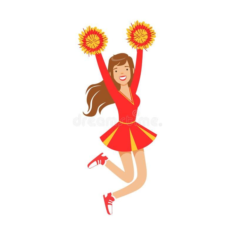 Cheerleadermädchen, das mit den roten und gelben Pompoms springt Bunte Zeichentrickfilm-Figur-Vektor Illustration vektor abbildung