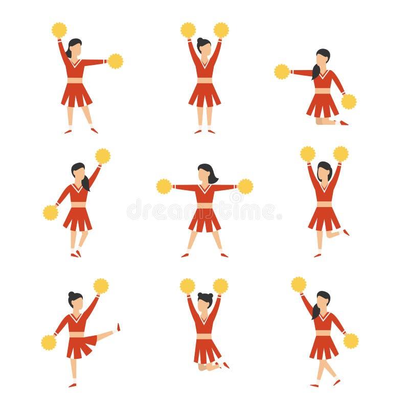 Cheerleadermädchen-Teamsatz Auch im corel abgehobenen Betrag vektor abbildung