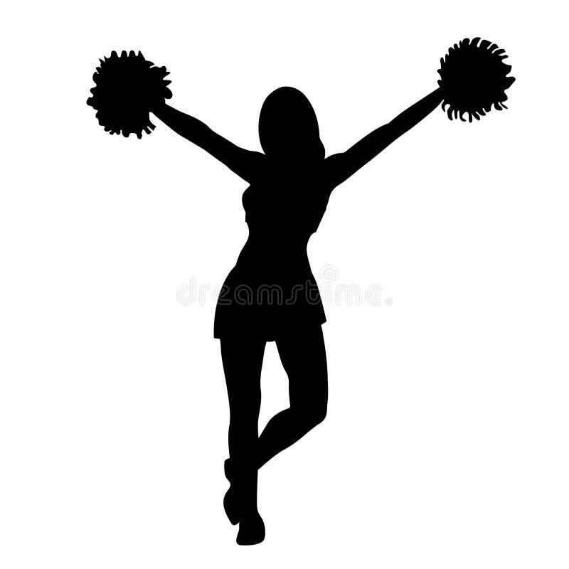 Cheerleadermädchenschattenbild Konturnmädchen mit den Händen, die oben Pompoms wellenartig bewegen Getrennt auf weißem Hintergrun stock abbildung