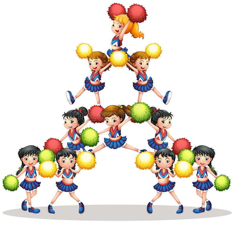 cheerleaders illustration stock