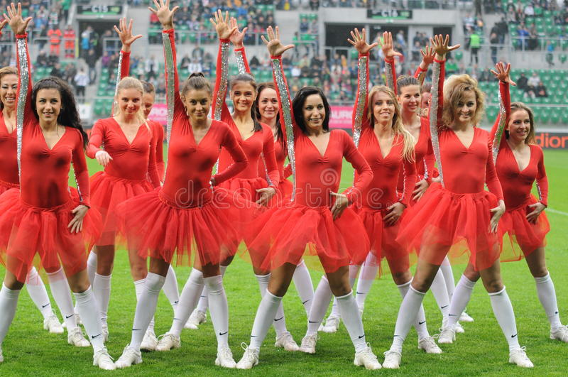 Cheerleaders in actie royalty-vrije stock foto's