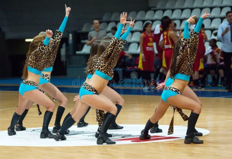 Cheerleaders dancing stock images