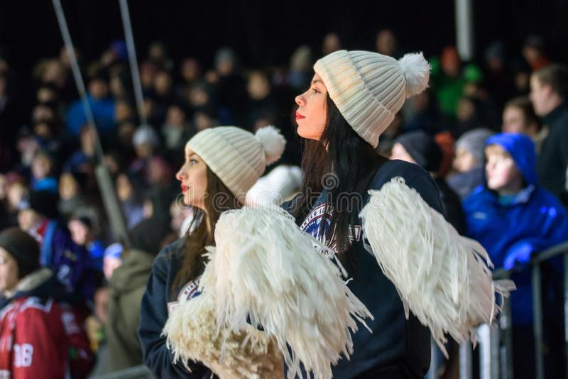 Cheerleaders, during Kontinental Hockey League KHL 2018/2019 season game , Winter Ice Break 2019 Dinamo Riga vs. Dinamo Minsk stock photos