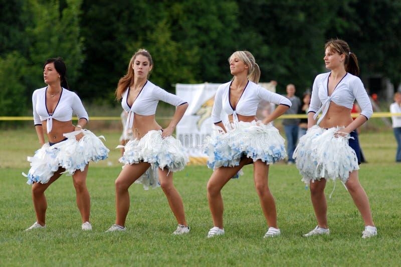 Cheerleaders perform royalty free stock images