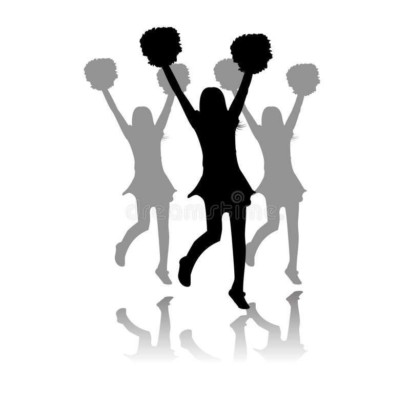 Download Cheerleaders Performance Silhouette Stock Vector - Illustration of college, university: 8974450