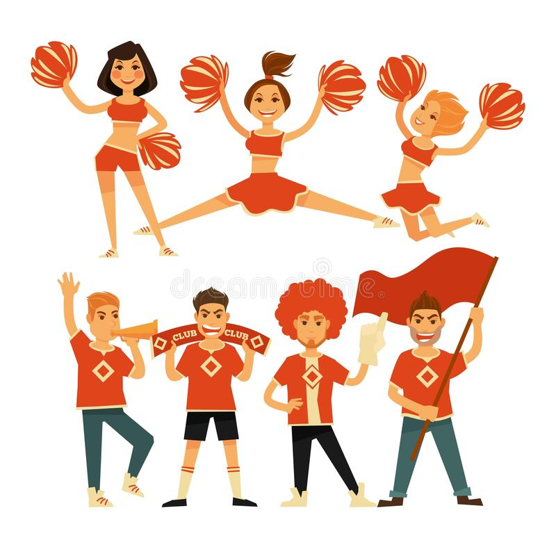 Cheerleaders and sport club cheerleading fans vector flat icons royalty free illustration