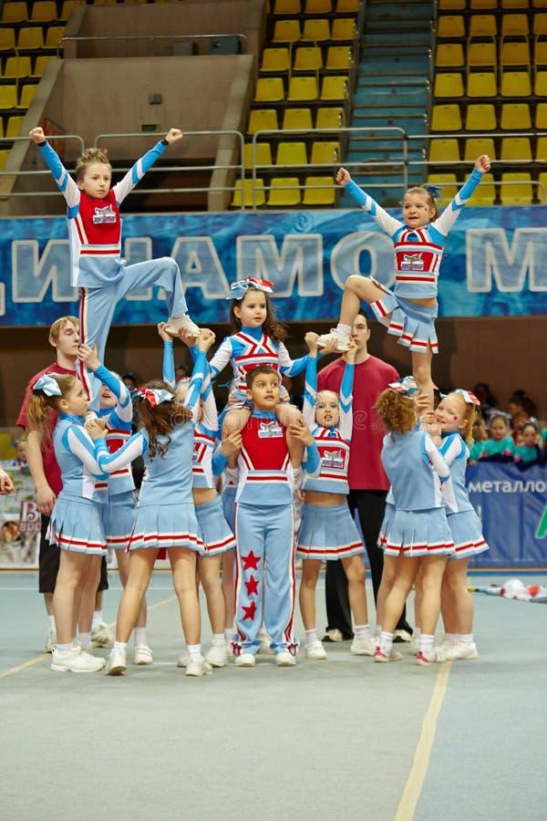 Cheerleaders team Sharks performs at Championship royalty free stock photos