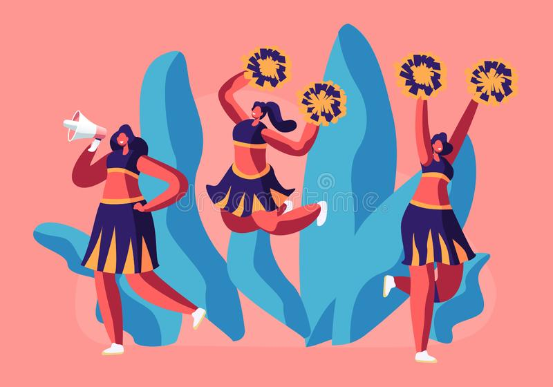 Cheerleaders Team in Uniform Dancing with Pompons Crying to Megaphone on Sport Event Competition Supporting Sportsmen. Student Girls Characters Performing on royalty free illustration