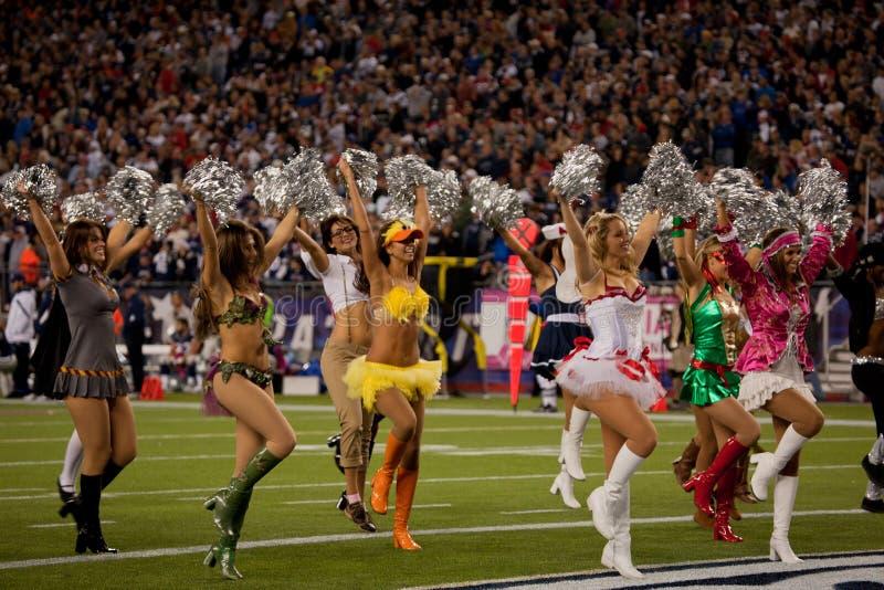 Cheerleaders van patriotten stock fotografie