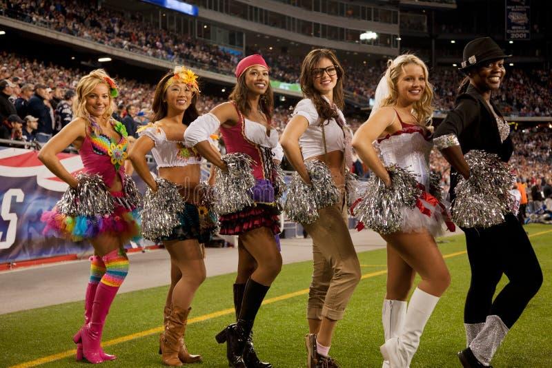 Cheerleaders van patriotten   stock afbeeldingen