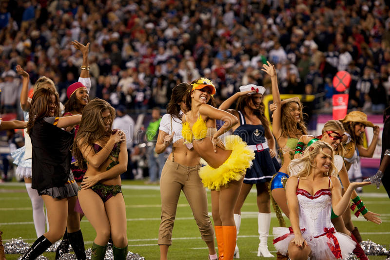 Cheerleaders van patriotten   royalty-vrije stock afbeeldingen