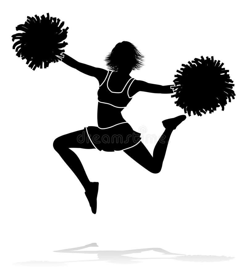 Cheerleaderschattenbild lizenzfreie abbildung