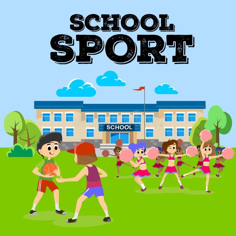 Cheerleadertanzen in der Uniform mit pom poms lizenzfreie abbildung