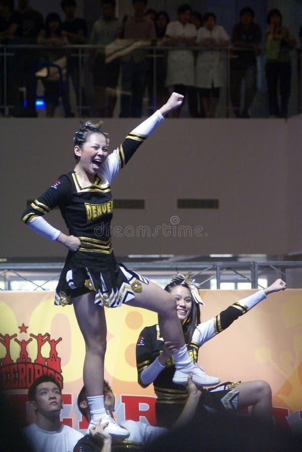 cheerleading состязание singapore стоковое изображение