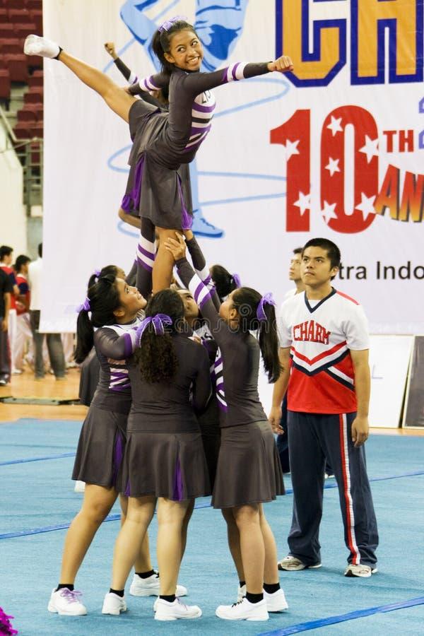 Cheerleading Championship Action stock photo